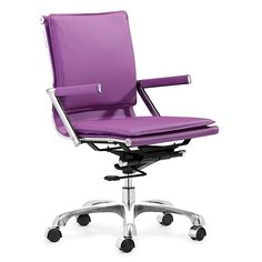 Lider Plus Office Chair By Zuo Modern lends a touch of sophistication to your a home, office, or conference room. Zuo Lider Plus Chair. Purple Desk, Purple Office, Home Office Chairs, Office Furniture, Modern Furniture, Apartment Furniture, Affordable Furniture, Dcor Design, Chair Design