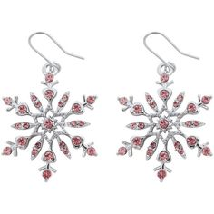 Amazon.com: Silver Tone Pink Crystal Snowflake Charm Dangle Earrings... (€18) ❤ liked on Polyvore featuring jewelry, earrings, crystal jewellery, bridal jewelry, crystal charms, crystal snowflake jewelry and christmas jewelry