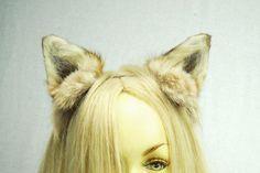 Coyote Ears Headband Real Fur Taxidermy Anime Costume Cosplay LARP Kawaii Animal Nekomimi Inumimi Cat Dog Fox Wolf Kitsune Costume CHB1