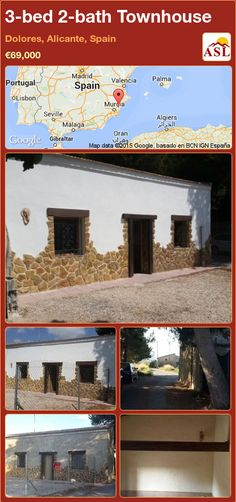 Townhouse for Sale in Dolores, Alicante, Spain with 3 bedrooms, 2 bathrooms - A Spanish Life Valencia, Portugal, Alicante Spain, One Bed, Family Bathroom, Maine House, Two Bedroom, Townhouse, Countryside