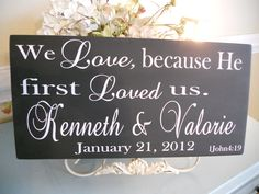 Wedding Signs,Religious Personalized Wedding/Family sign with Bible Verse...You Choose the colors:) on Etsy, $42.95