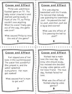 Cause and Effect Task Cards - students read a short paragraph and have to identify causes and effects. $