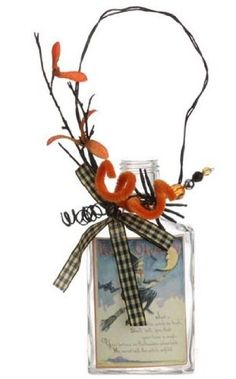 Halloween - Decorative Vintage Glass Bottle (Rectangle) PerfectlyFestive  $20.95 http://www.amazon.com/dp/B00MW9E0MG/ref=cm_sw_r_pi_dp_dmSpub07BF347