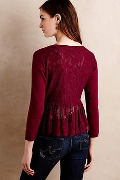 ♥ Anthropologie - Afterword Lace-back Cardigan in red and black, size petite L, $59.95 (on sale from $118)