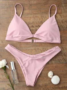 Spaghetti Strap Removable Padded Bikini in Light Pink | Sammydress.com