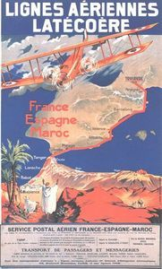 Vintage France to Morocco Air Travel Poster