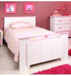 Lit 120x200 cm cm en bois de couleur rose indien et blanc