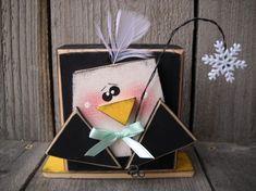 Definite for next year's craft sale. 2x4 Crafts, Wood Block Crafts, Wooden Crafts, Crafts To Make, Wood Blocks, Chalk Crafts, Christmas Wood, Winter Christmas, Winter Fun