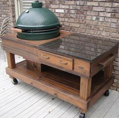 Wonderful Custom Solid Cypress Work Tables With Drawer U0026 Cut Out Option For All Model Green  Egg Grills