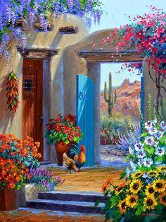 Mexican Artwork, Mexican Paintings, Mexican Folk Art, Arte Sharpie, Southwestern Art, Desert Art, Beautiful Paintings, Landscape Paintings, Watercolor Paintings