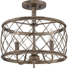 """Quoizel RDY1714 Dury 3 Light 14.5"""" Wide Semi-Flush Mount Ceiling Fixture Century Silver Leaf Indoor Lighting Ceiling Fixtures Semi-Flush"""