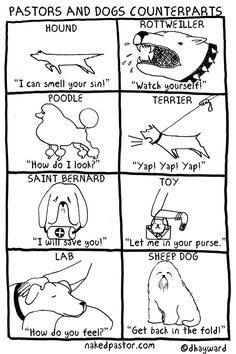 """Pastors and their Dogs"" cartoon by nakedpastor David Hayward"
