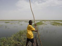 View from a fishing boat, Volta and Niger Basin in West Africa