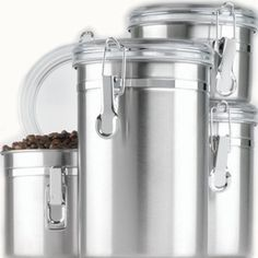 Set of 4 stainless steel clamp-top canisters with clear lids; one each: 27-ounce, 38-ounce, 47ounce, and 63-ounce  Contemporary clean design Functional too Keeps food fresh  Clear lids let you see what is inside the canister without having to open it up