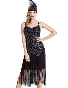 PrettyGuide Women 1920s Sequin Paisley Long Tassels Overlay Midi Cocktail Flapper Dress Pure Black L