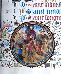 """Month, Occupation: March -- Man, wearing elaborate headgear, is flanked by two men, each holding hoe or mattock. Scene in landscape setting filled with short, bare trees, all within decorated medallion in lower margin (bas-de-page). Morgan LibraryMS M.358 Book of hours (Ms. Pierpont Morgan Library. M.358) Title: Book of hours. Published/Created: Provence, France, ca. 1440-1450. Notes: Book of hours (""""unfinished hours""""), use of ..."""