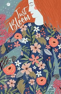 Just Bloom- Mia Charro, simple, floral, nature, lady… Art And Illustration, Floral Illustrations, People Illustrations, Whatsapp Wallpaper, Collage, Poster S, Star Art, Foto Art, Art Drawings
