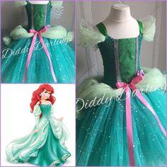 Sparkly Ariel Tutu Dress Little Mermaid Tutu Costume Party Princess Ballgown