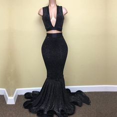 Sexy Mermaid Black V Neck Two Pieces Sequence Long Prom Dresses Black Prom Dresses Uk, Plus Size Prom Dresses, Homecoming Dresses, Dress Black, Semi Dresses, Long Dresses, Wedding Dresses, Instagram Baddie, Two Piece Evening Dresses