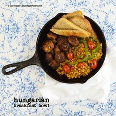 Hungarian Breakfast Bowl from Vegan Bowls by Zsu Dever Gourmet Breakfast, Vegan Breakfast Recipes, Breakfast Bowls, Vegan Recipes, Vegan Food, Breakfast Around The World, Pantry, Lunch, Meals