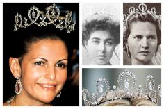 """The Connaught Diamond Tiara. Crown Princess Margaret of Sweden, born a princess of Connaught, recived this tiara on her wedding day in 1905. This particular piece was given to Margaret by her parents, Prince Arthur, Duke of Connaught (a son of Queen Victoria) and Princess Louise of Prussia. The delicate tiara features diamond loops from which diamond drops are suspended. Because it was the favorite tiara of the king's mother, this piece is often called """"Princess Sibylla's Tiara""""."""