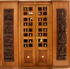 Wood Design Ideas: Latest Pooja Room Door Frame And Door Design Gallery Front Door Design Wood, Pooja Room Door Design, Wooden Door Design, Wooden Doors, Wood Design, Rustic Doors, Glass Design, Wooden Signs, Door Design Photos