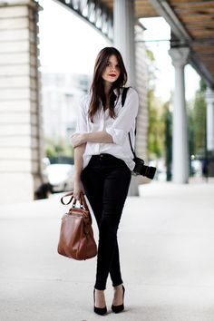 Black + White + Brown Leather