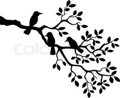 Black silhouettes of trees and flying birds isolated on white ...