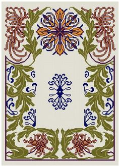 Chrysanthemum cross stitch pattern PDF Art Nouveau
