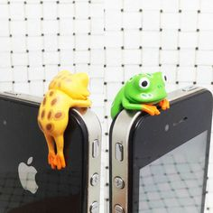 40%OFF Cute Colorful Yellow Green Tree Frog 3.5mm Cell Phone Plug iPhone 4 4S 5 5S Dust Plug Samsung Charm Headphone Jack Ear Cap on Etsy, $8.99