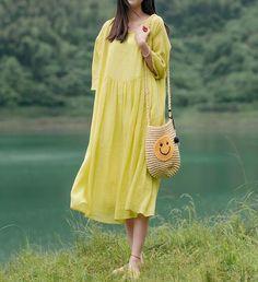 Women summer linen Dresses, yellow long Dresses, Prom dress, minimalist dress, dress with pockets