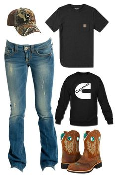 """Barn Chores?"" by im-a-jeans-and-boots-kinda-girl on Polyvore featuring GUESS, Carhartt and Ariat"