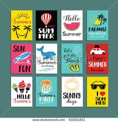 Vector Summer cards templates. Hand drawn Summer tags, labels or posters collection. Vector illustration.