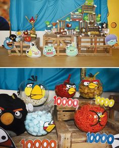 Creative Angry Birds Birthday Party with a life size sling shot, angry birds centerpiece, diy crate dessert table, hidden green piggies & more themed ideas!