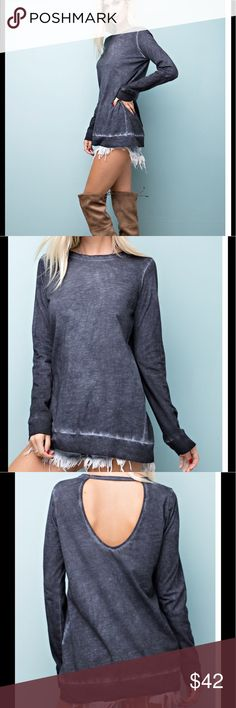 """🎉just arrived❗️Oil washed long sleeve top Charcoal colored 100% cotton slub jersey. So comfy yet stylish! Looks a little navy on model pics but it is a gray charcoal color. This Oil washed, cotton slub  jersey, long sleeved top features a plunging back cut out detail. Size guide chest measurement laying flat. S-19"""" M-20.5"""" L-21"""" Tops"""