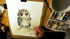 How to paint a Watercolour Owl by Tomasz Mikutel, speed painting demonst...