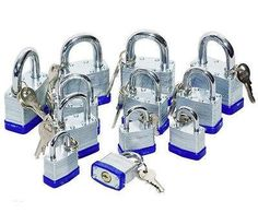 12 PCS Assorted Sizes: 4 each of Short Shank Laminated Padlock Set Chrome Plated Hardened Steel Shackle Laminated Double Eyelid, Chrome Plating, Locks, Brass, Steel, Personalized Items, Door Latches, Steel Grades, Castles