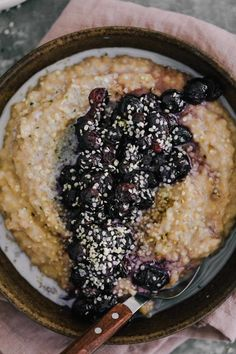 Cracked Spelt Porridge with Roasted Blueberries from naturallyella.com