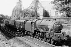 45689 AJAX at Lancaster, 12 September 1959 Steam Trains Uk, Buses And Trains, Steam Railway, Train Art, British Rail, Isle Of Wight, Steam Engine, Steam Locomotive, Diesel Engine