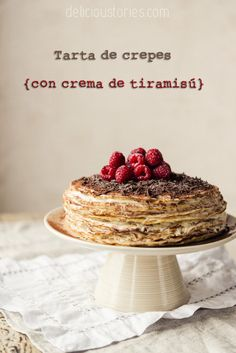 Cake tiramisu crepes with cream anniversary and a sweepstakes to celebrate} ' Candy Recipes, Sweet Recipes, Crepe Cake, Piece Of Cakes, Just Desserts, Sweet Tooth, Food And Drink, Sweets, Baking