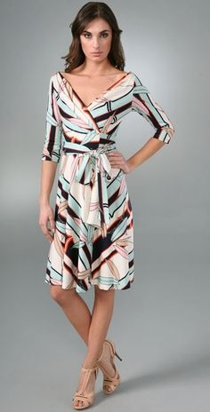 Wrap dress - very flattering/figure friendly/ available in many textures and prints