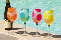 Evergreen Enterprises 3CWG3013 12oz Polka Dots Frosted Stemware Glass - 4 Assorted