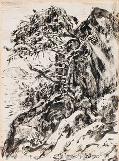 Arthur Lismer - Tree Georgian Bay 9.5 x 7 Ink and wash drawing on paper (1962) Georgian, Ink, Paper, Drawings, Georgian Language, Sketches, India Ink, Drawing, Portrait