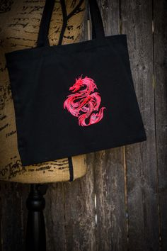 Mystical Neon Pink Dragon Tote Bag by ScarftasticCreations on Etsy