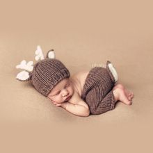 Newborn Baby Boy Photography Props Baby Boy Hat Newborn Fotografia Baby Crochet Outfits Christmas elk Design(China (Mainland))