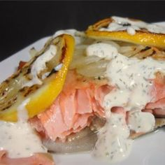 There's nothing like fresh salmon, and my mom bakes it just right so it nearly melts in your mouth. The sour cream sauce is subtly seasoned with dill and horseradish so that it doesn't overpower the delicate salmon flavor. Salmon Dishes, Fish Dishes, Seafood Dishes, Fish And Seafood, Seafood Recipes, Main Dishes, Shellfish Recipes, Sauce Recipes, New Recipes