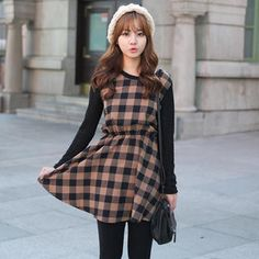 Knitted Sleeve Gingham Dress from #YesStyle <3 CLICK YesStyle.com
