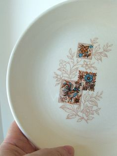 Vintage Dish with rooster and flowers in blue and brown by lookonmytreasures on Etsy