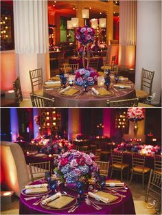 Love the chargers, touches of gold and blue glasses  1920s Jewel Tone Wedding at The Corinthian by J. Cogliandro Photography