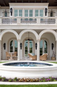 Custom home in Westin, Florida. Built by Albanese Builders, designed by Randall Stofft Architects, and interior design by Causa Design Group. Completed in 2012 Outdoor Living, Outdoor Spaces, Indoor Outdoor, Villa Design, House Design, Front Wall Design, Dream Mansion, Home Building Design, Big Houses